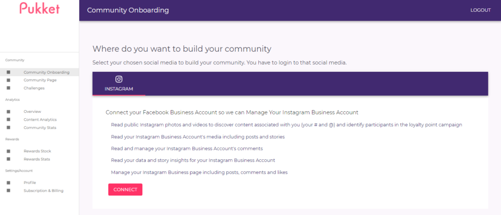 Community onboarding page on Pukket