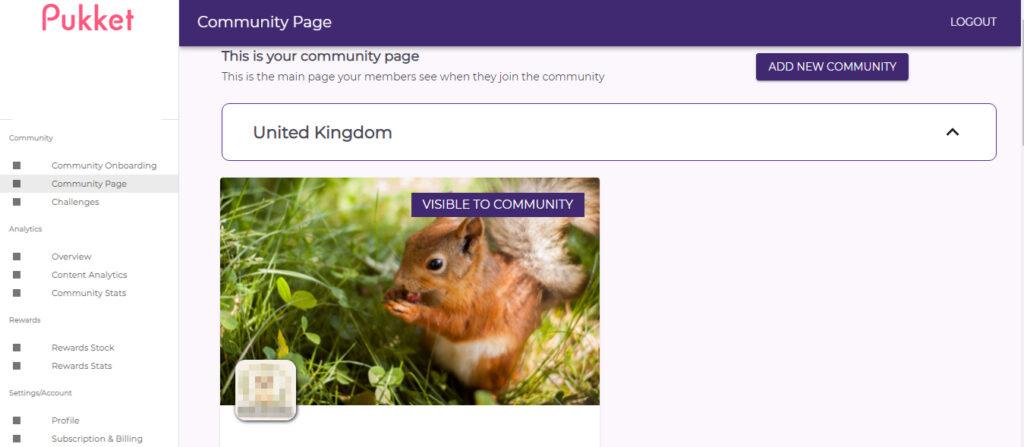Community page on Pukket