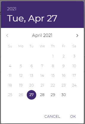 Use the calendar for setting the start and end date of challenges on Pukket